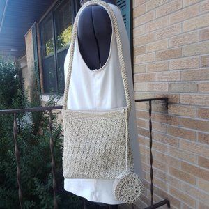 Petite Sophisticate cream shoulder bag & coinpurse
